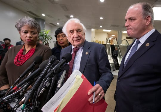 From left, Rep. Brenda Lawrence, D-Mich., Rep. Brenda Jones, D-Mich., Rep. Sander Levin, D-Mich., and Rep. Dan Kildee, D-Mich., speak to reporters after meeting with General Motors CEO Mary Barra to discuss plans for the massive restructuring by the Detroit-based automaker, on Capitol Hill in Washington, Thursday, Dec. 6, 2018. (AP Photo/J. Scott Applewhite)