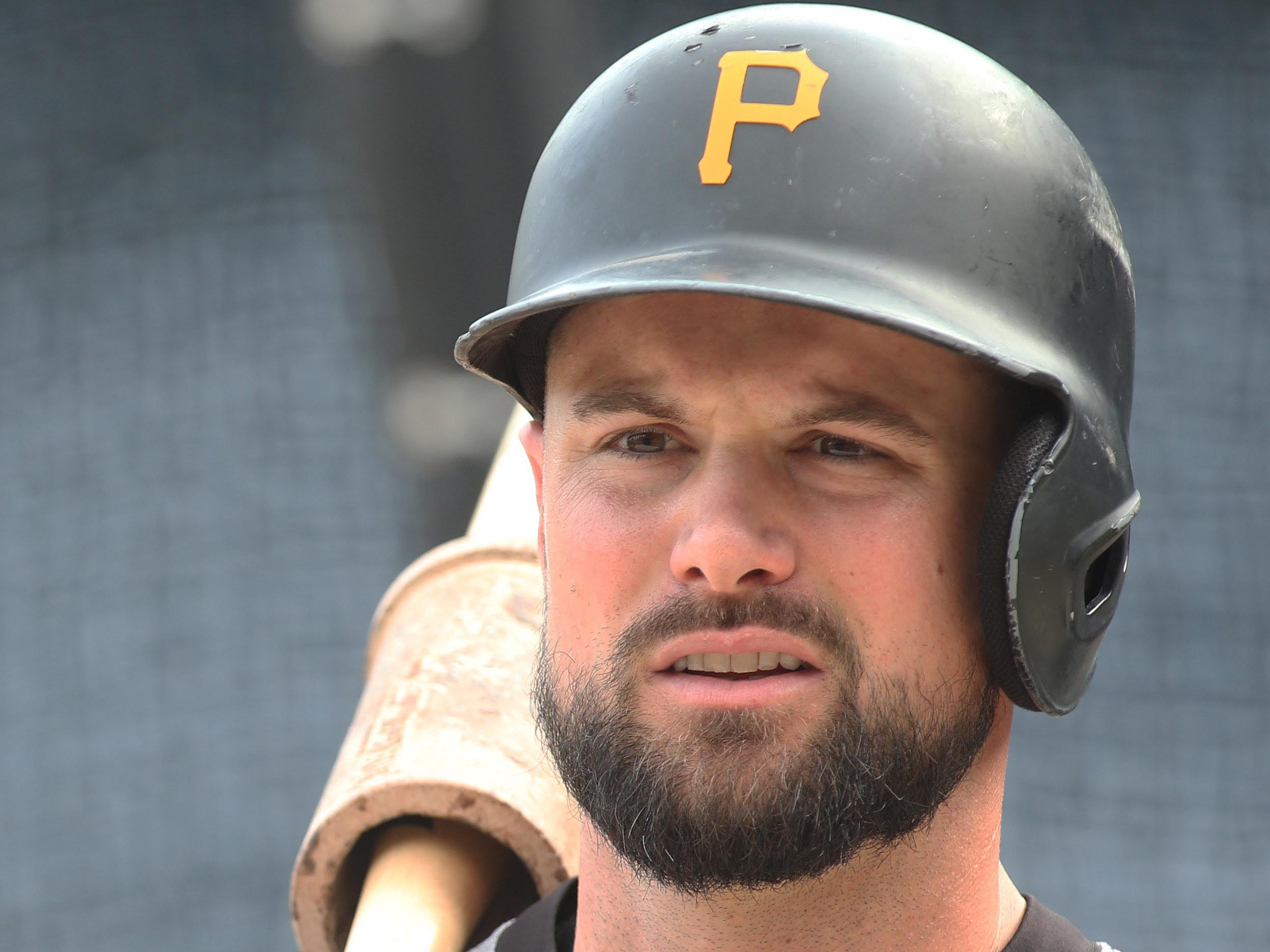 Pittsburgh Pirates shortstop Jordy Mercer looks on at the batting cage before a game at PNC Park, Sept. 7, 2018.