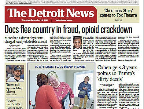 The front page of The Detroit News on Thursday, December 13, 2018.