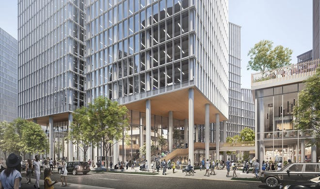 Plans for the Monroe Blocks project include the first high-rise office tower to be built downtown in a generation, as well as more than an acre of open space.