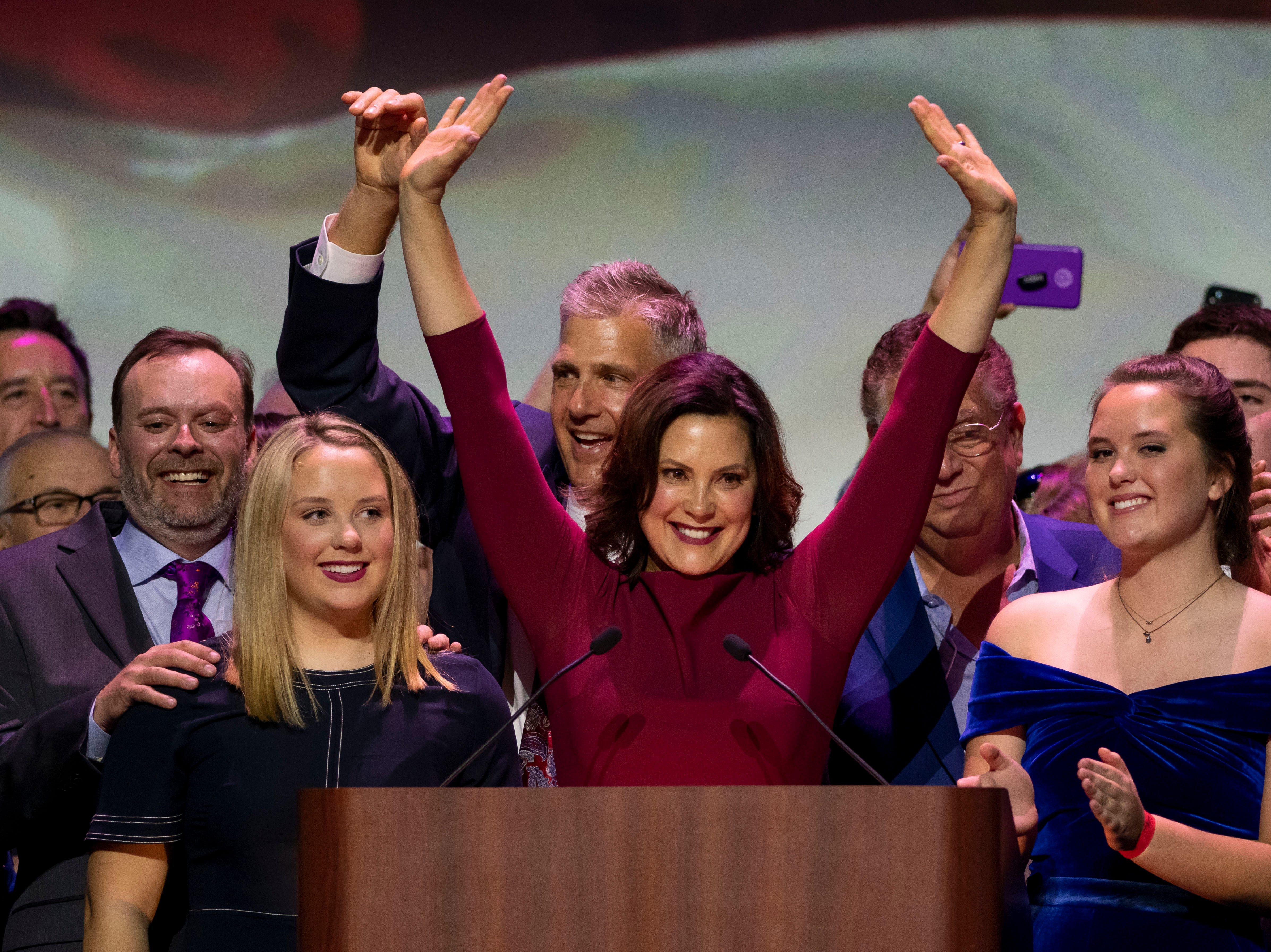 Gretchen Whitmer gives her acceptance speech after being elected the next governor of Michigan, in Detroit, Tuesday, Nov. 6, 2018 at the Sound Board Theater at MotorCity Casino.