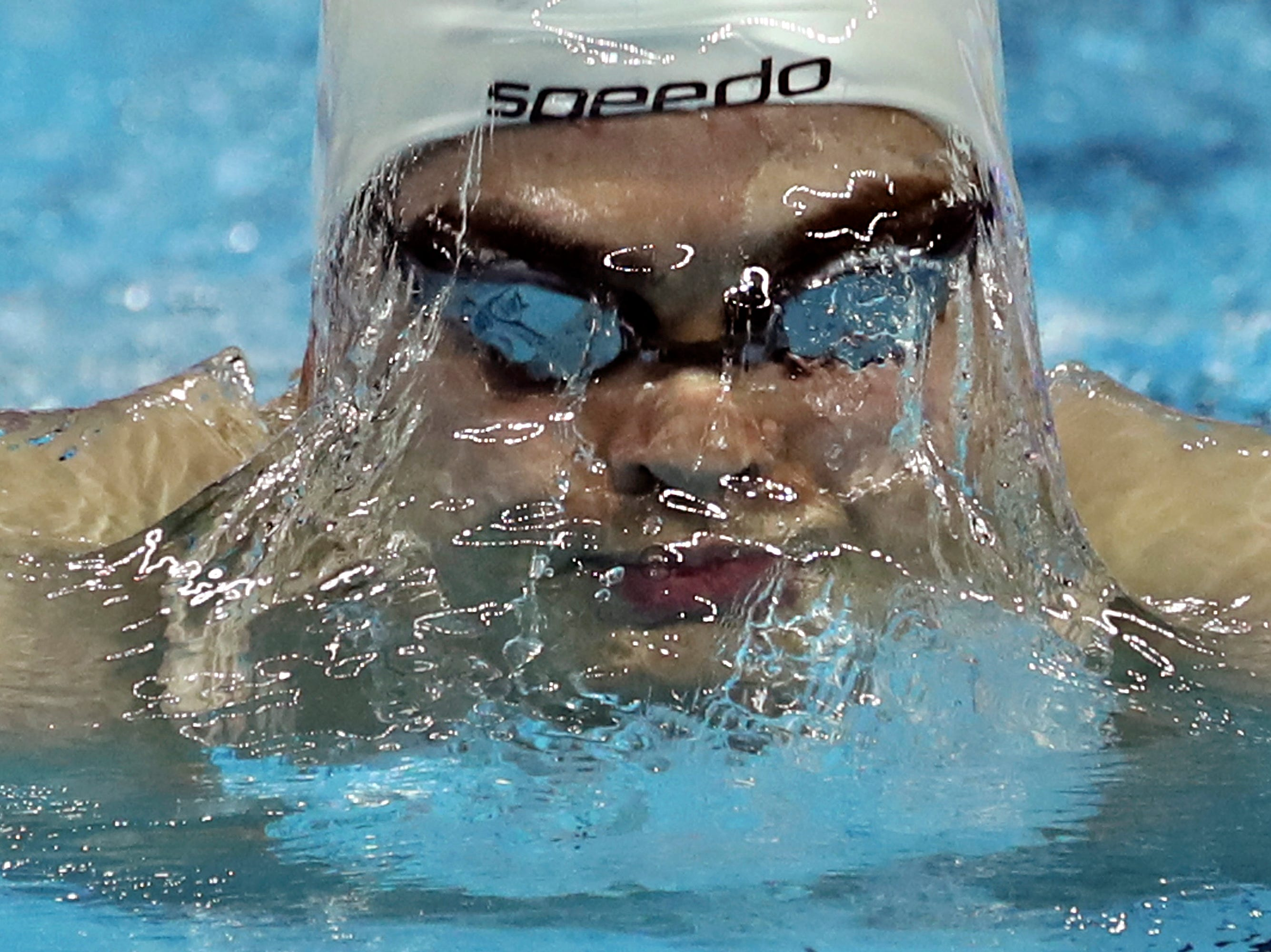 Iceland's Anton Svein McKee competes in heats for the men's 200m breaststroke during the 14th FINA World Swimming Championships in Hangzhou, China Thursday, Dec. 13, 2018.