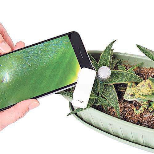 The Active Eye Universal Mobile Phone Microscope turns a smartphone into a 60X microscope.