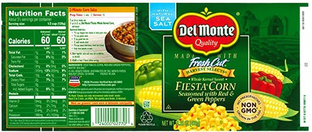 The FDA has announced a recall of Del Monte Fresh Cut Fiesta Corn seasoned with red and green peppers.