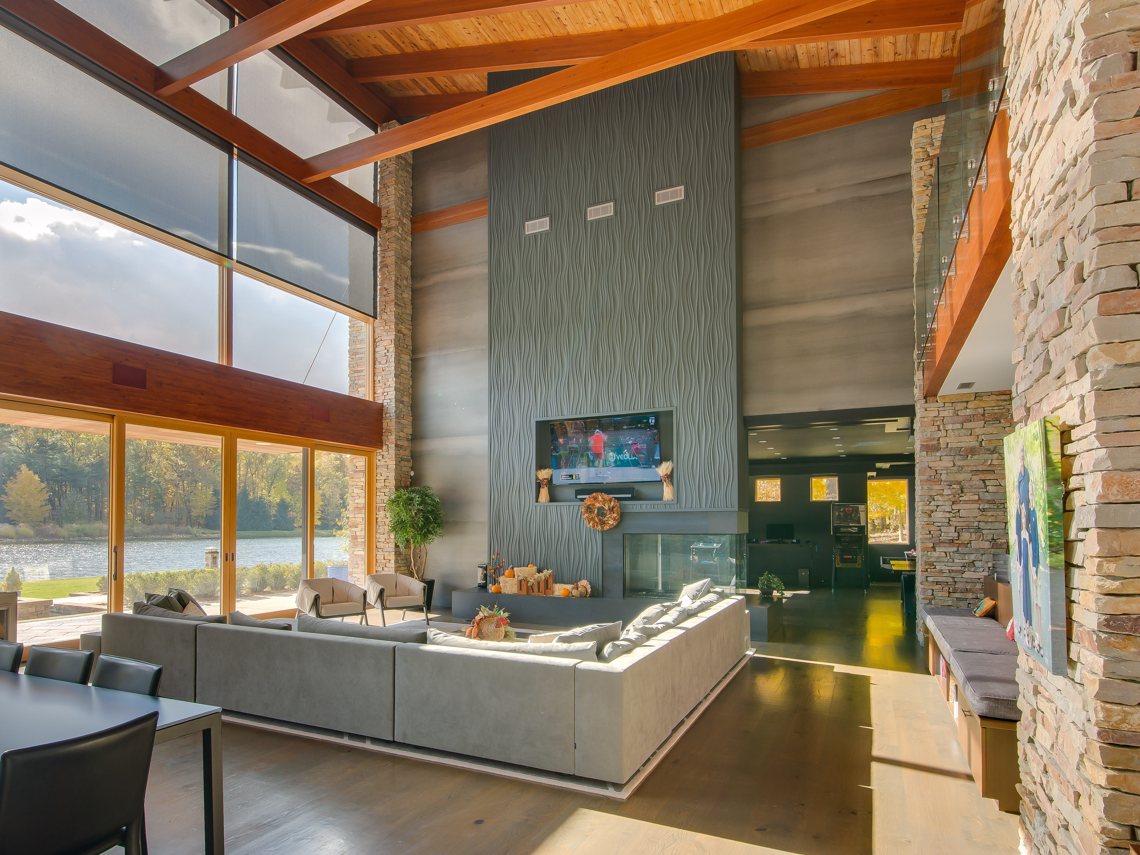"""It's also a masterpiece of contemporary design and an entertainer's dream,"" says JoAnne Potts of Jaqua Realtors.   ""And the walls of glass in the home make for spectacular views of the lake and surrounding nature."""