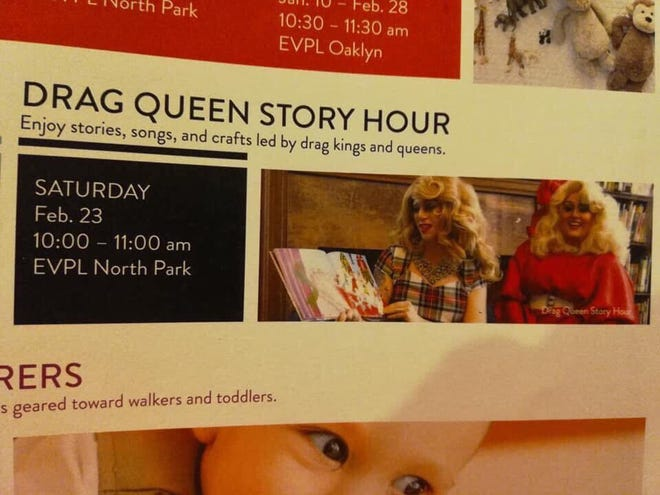 Drag Queen Story Hour will be presented at the Evansville Vanderburgh Public Library, North Park location, on Feb. 23.