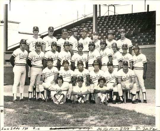 Courier & Press ArchivesThe Evnasville Triplets, American Association Eastern Division and playoff champions are seen on Sept. 23, 1972. Seated (from left): Manager Mike Roarke, Carols Velazquez, Pete Garcia, Pepe Frias, Matt Galante and Rob Ellis. Second row: Archie Reynold, Jim Slaton, Darrell Porter, Dick Estelle, Bob Coluccio, Bob Hanse, Gary Cavallo, Lloyd Gladden, Gene Ammann and player-coach Bernie Smith. Third row: Bill McNulty, Larry Wallin, Wilbur Howard, Ray Newman, Bobby Mitchell, Jack Lind, Les Scott and Mike Herson. Bat boys are Steve Laswell, Johnny Hodges and Herschell Moore.
