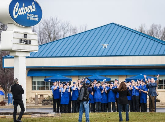 The crew of Culver's film a video Thursday, Dec. 13 at 81 W. Pioneer Road. The Culver's restaurant has been picked as one of five national finalists for the Culver's Crew Challenge. a nationwide contest in which 640 of the chain's restaurants across 24 states compete in the areas of quality, service, cleanliness, hospitality, community outreach, and team member training and development.