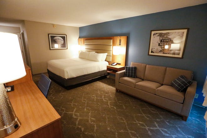 A renovated room at the Holiday Inn hotel in Fond du Lac. The renovations come as the hotel changes to a Radisson.
