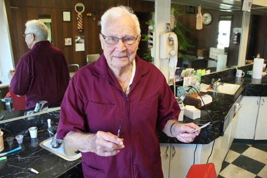 Bill Cronin, 92, started cutting hair in Fremont in 1956.