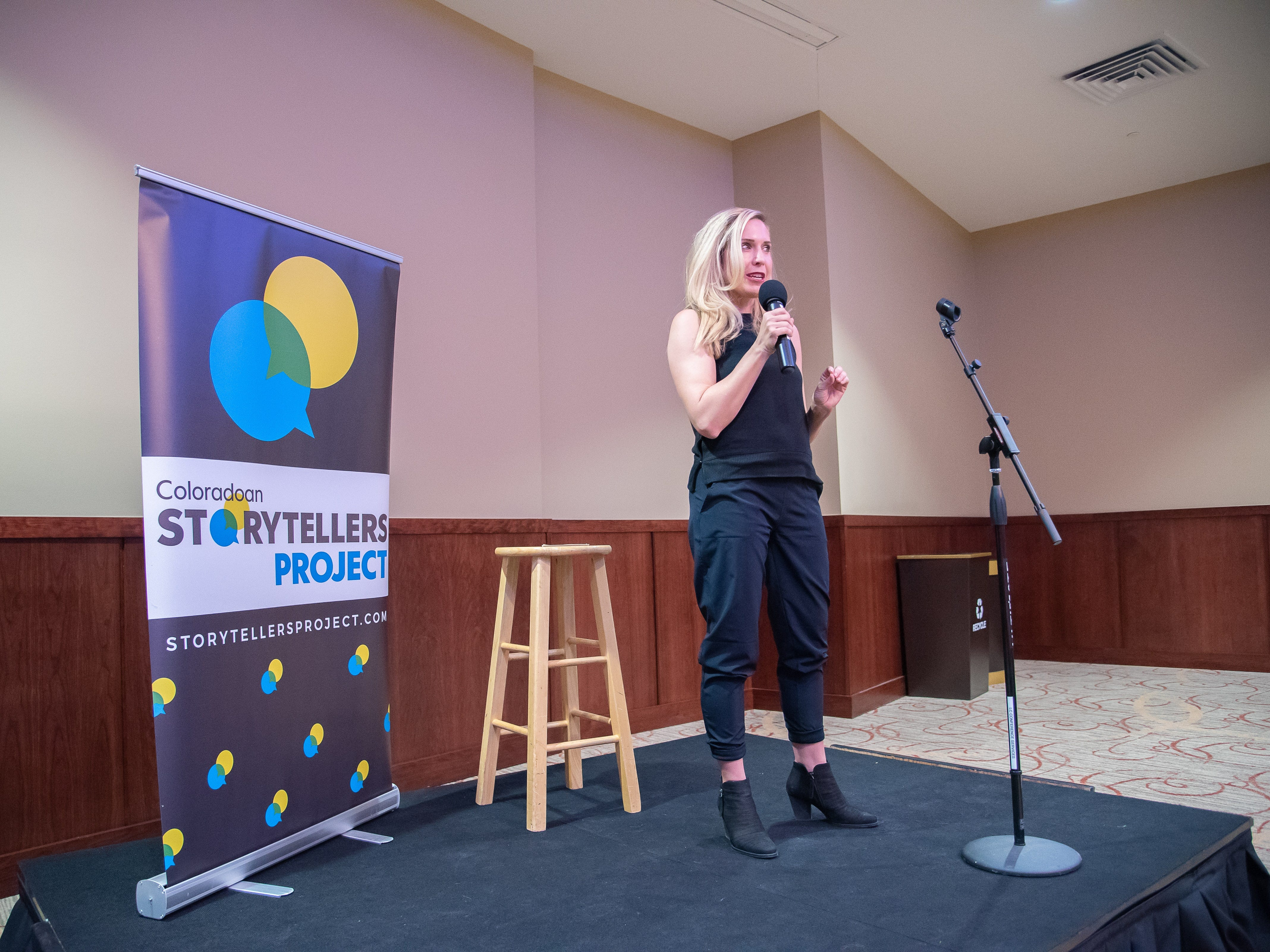 Storyteller Adrian Collins speaks of her complex role as birth mother and adoptive mother during the Coloradoan Storytellers Project at Lincoln Center on Tuesday, December 11, 2018.