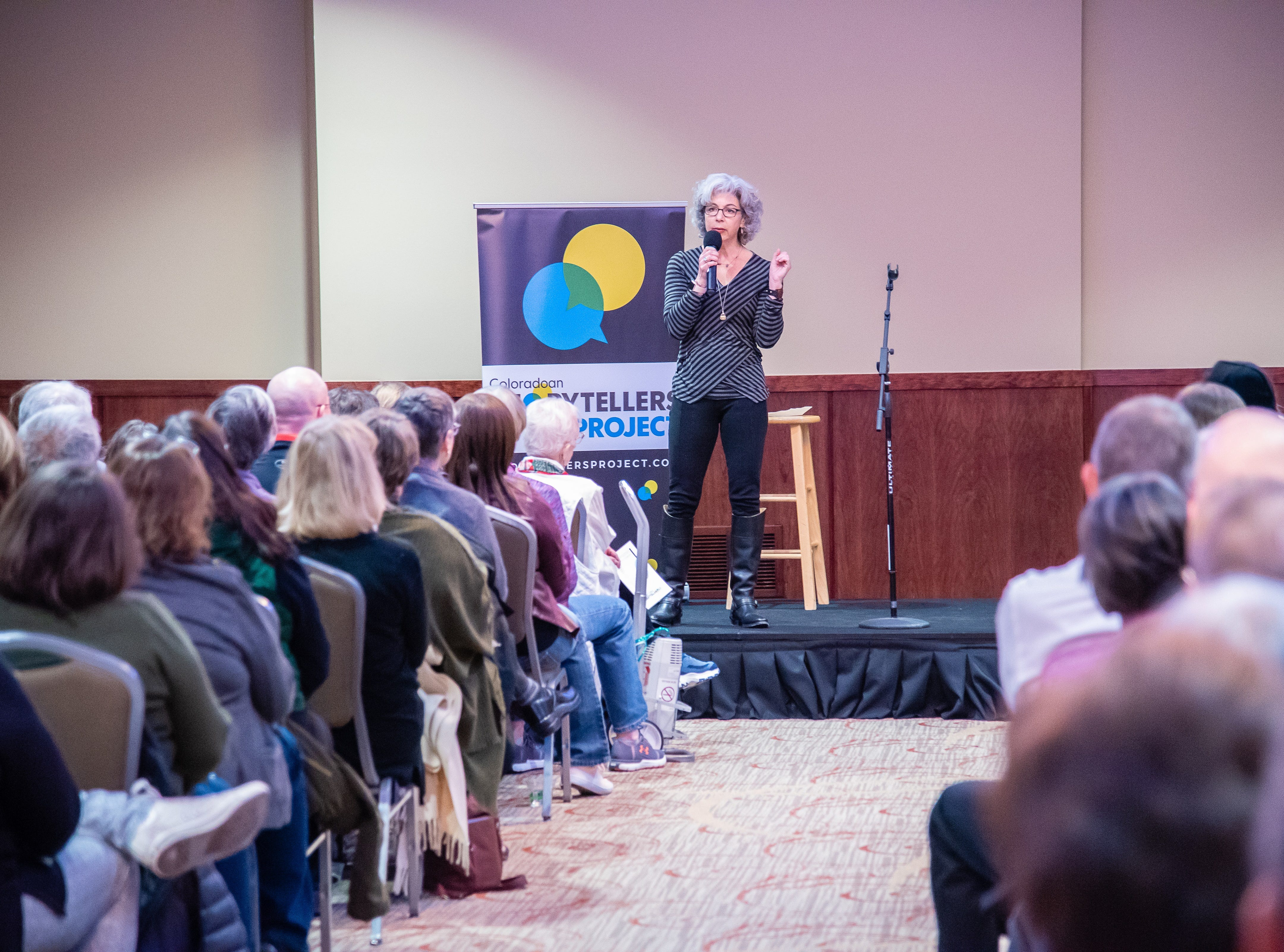 Storyteller Leah Barrett tells a story about hope and healing  during the Coloradoan Storytellers Project at Lincoln Center on Tuesday, December 11, 2018.