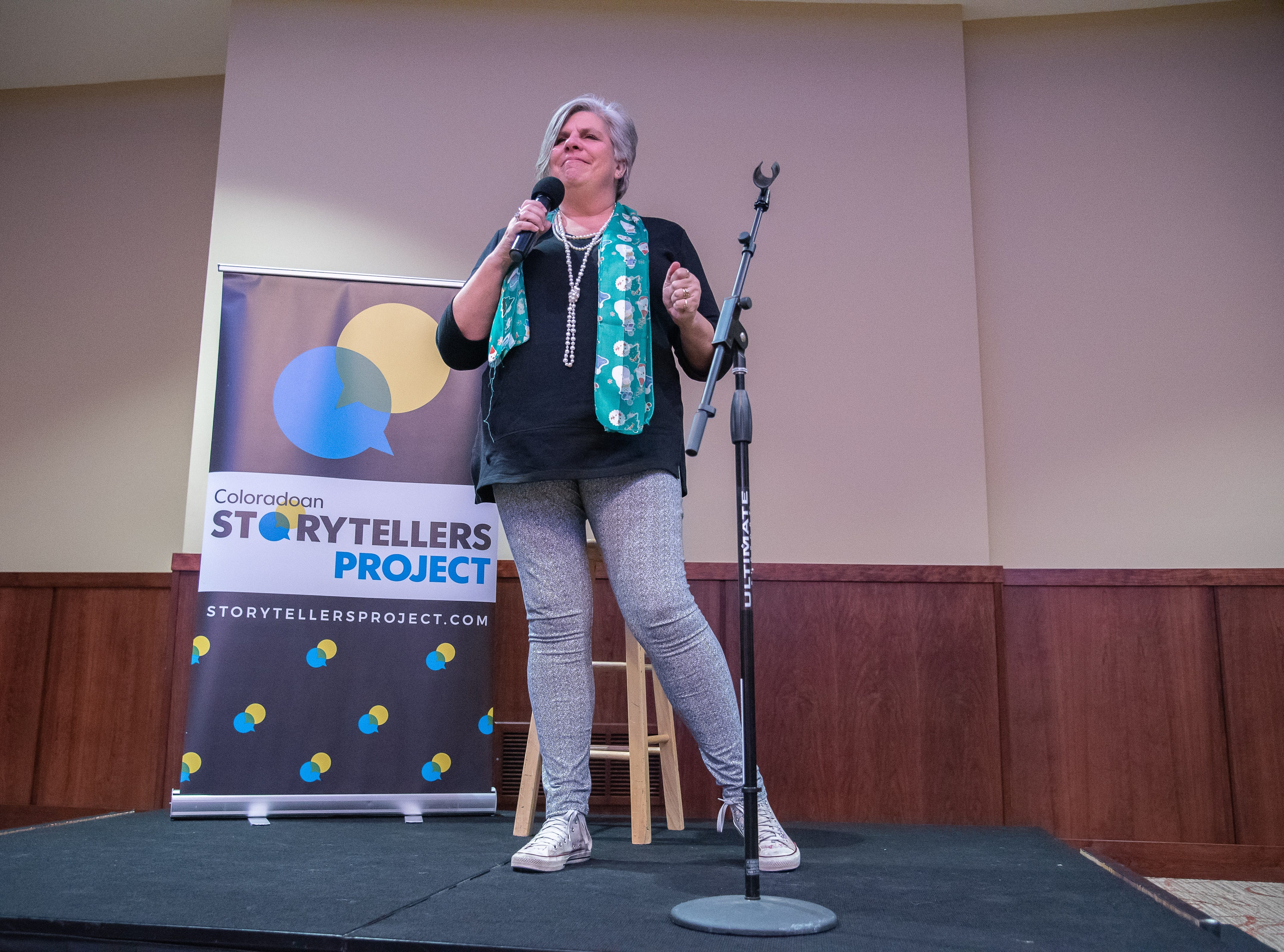 Storyteller Resa Mai tells a holiday story during the Coloradoan Storytellers Project at Lincoln Center on Tuesday, December 11, 2018.