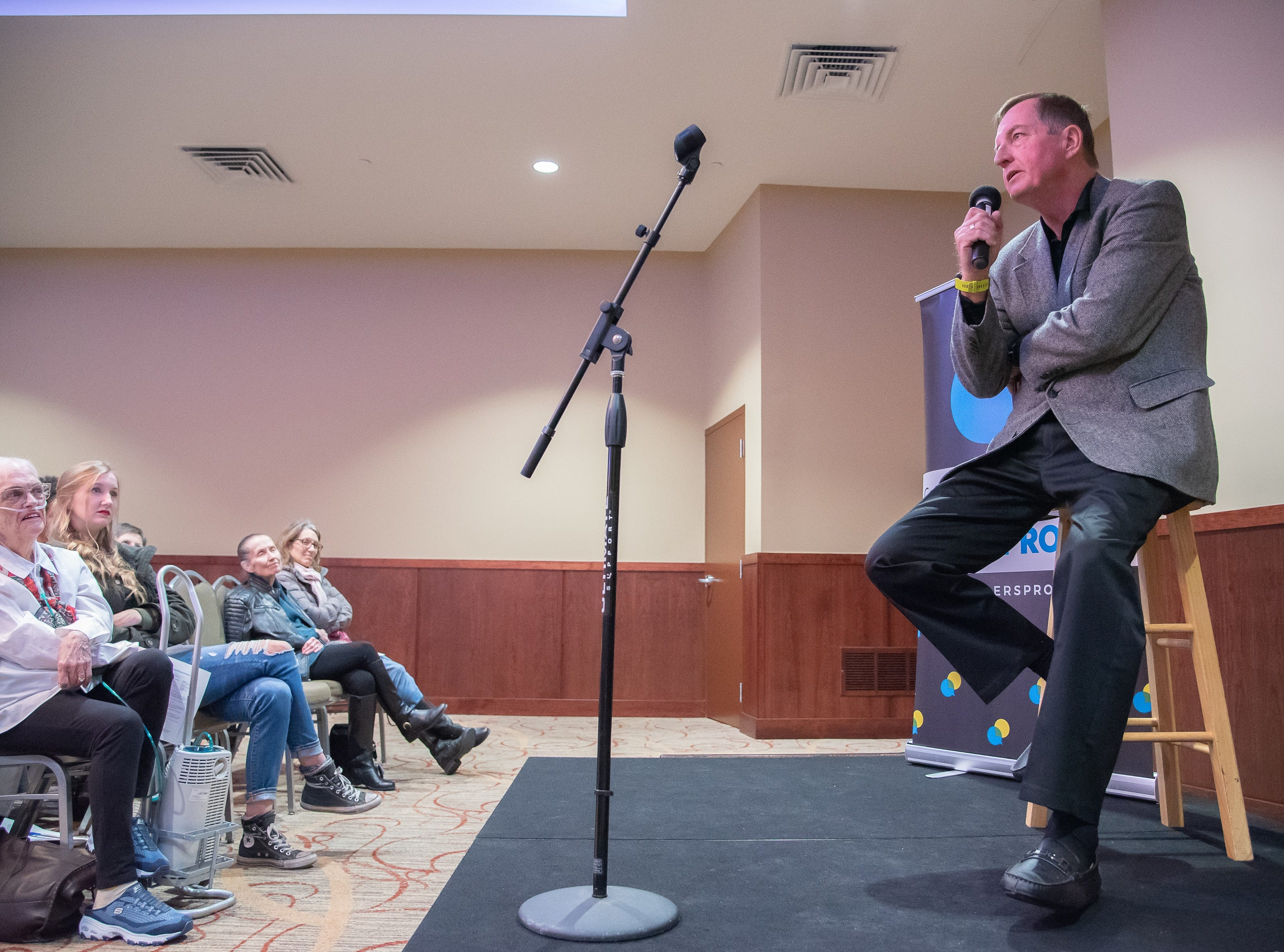 Storyteller Tim Dolan tells a story of his teenage years and his relationship with his father during the Coloradoan Storytellers Project at Lincoln Center on Tuesday, December 11, 2018.