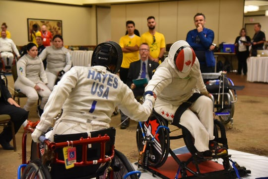 Terry Hayes, 60, took up wheelchair fencing 18 months ago and now is one of the best in her age group.