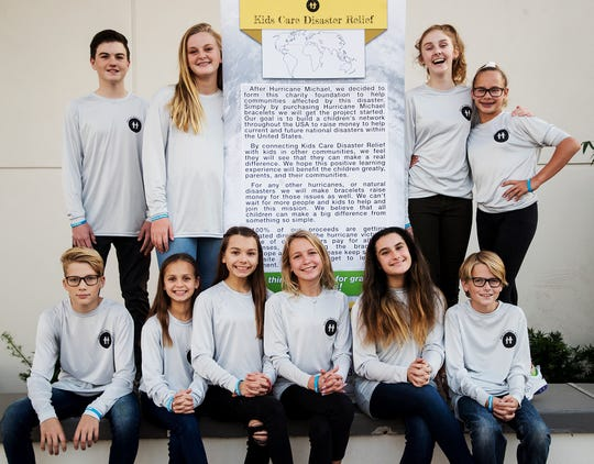 Southwest Florida students who include, from left bottom row, Marlon Engelhard, Lila Dinkel, Ella Dinkel, Kristina Podlasek, Maya Shuster and Nino Engelhard. Top Row from left is Colin Campbell, Olivia Hoy, Ellie Appelgren and Kat Sanders. They made bracelets and raised thousands in funds to help those affected by Hurricane Michael in the Florida Panhandle.