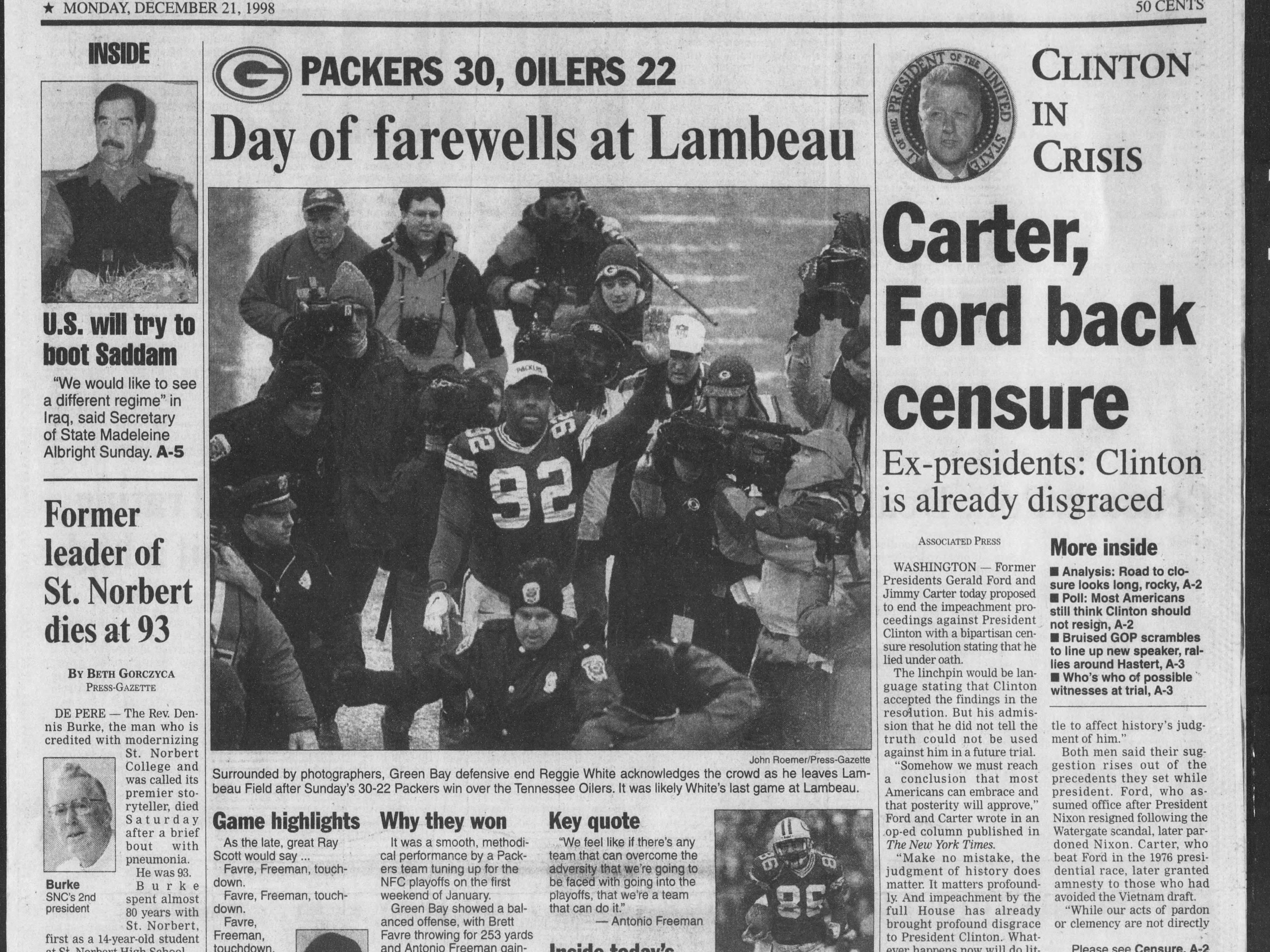 Today in History: Dec. 21, 1998