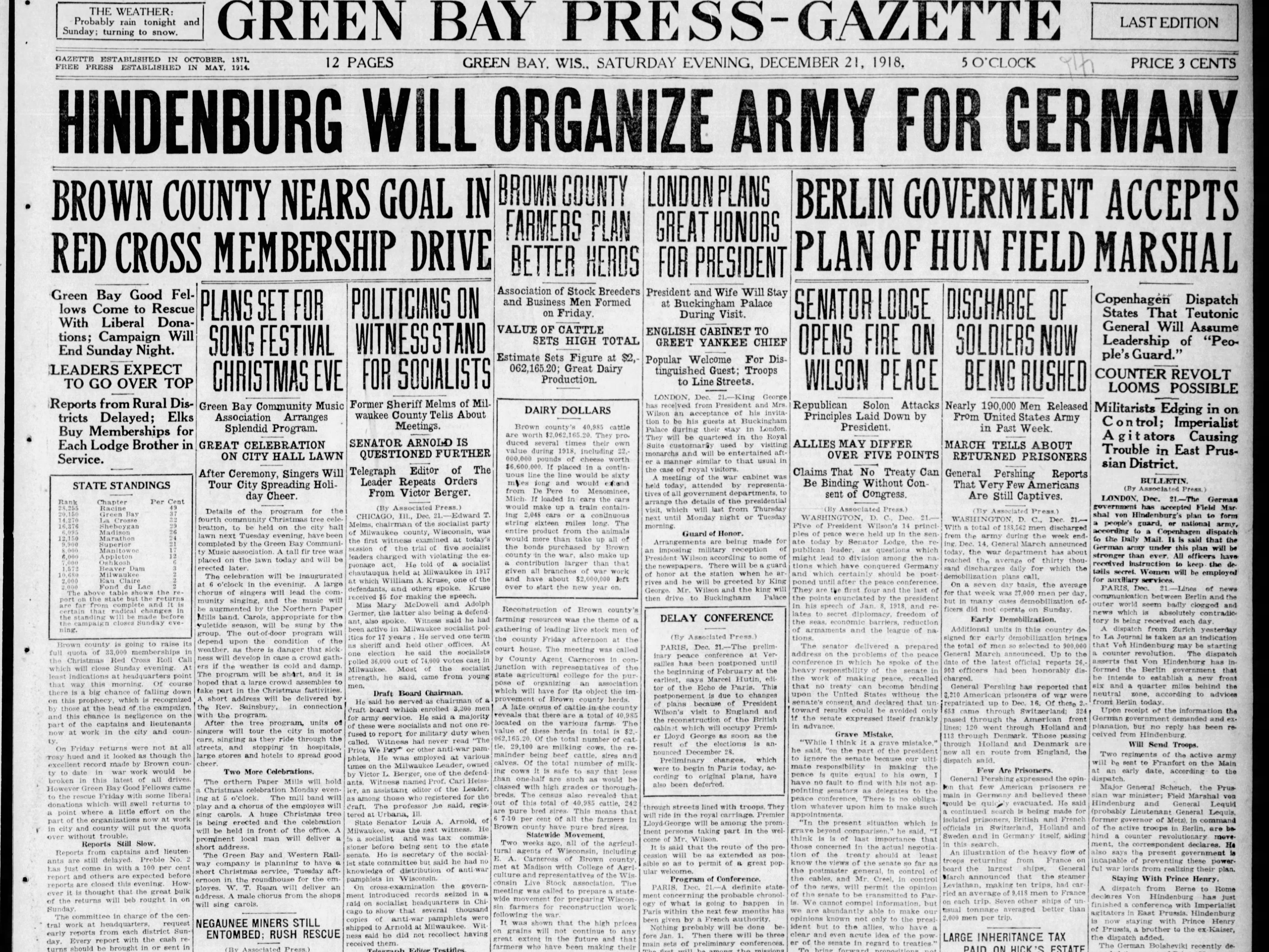 Today in History: Dec. 21, 1918