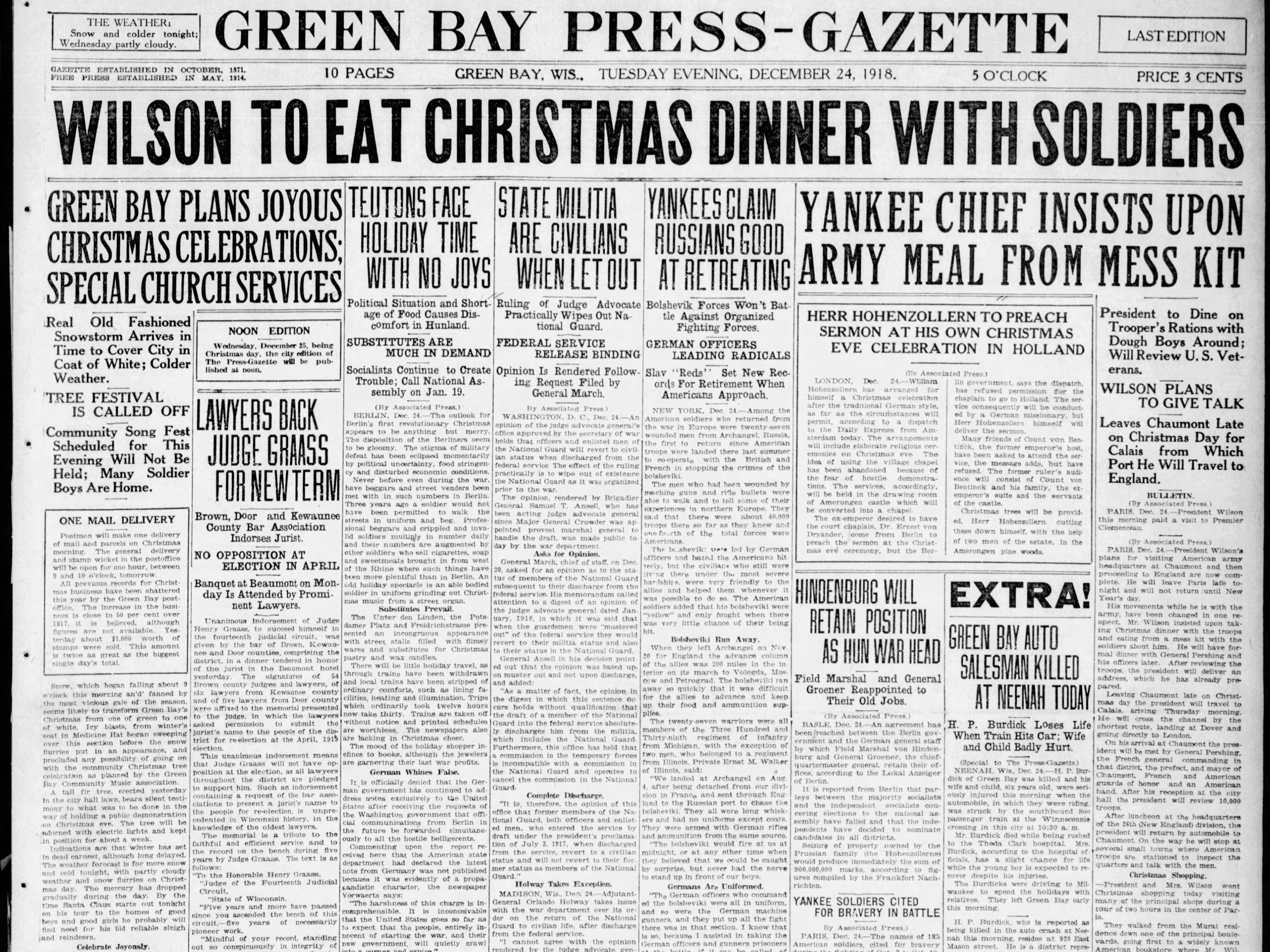 Today in History: Dec. 24, 1918
