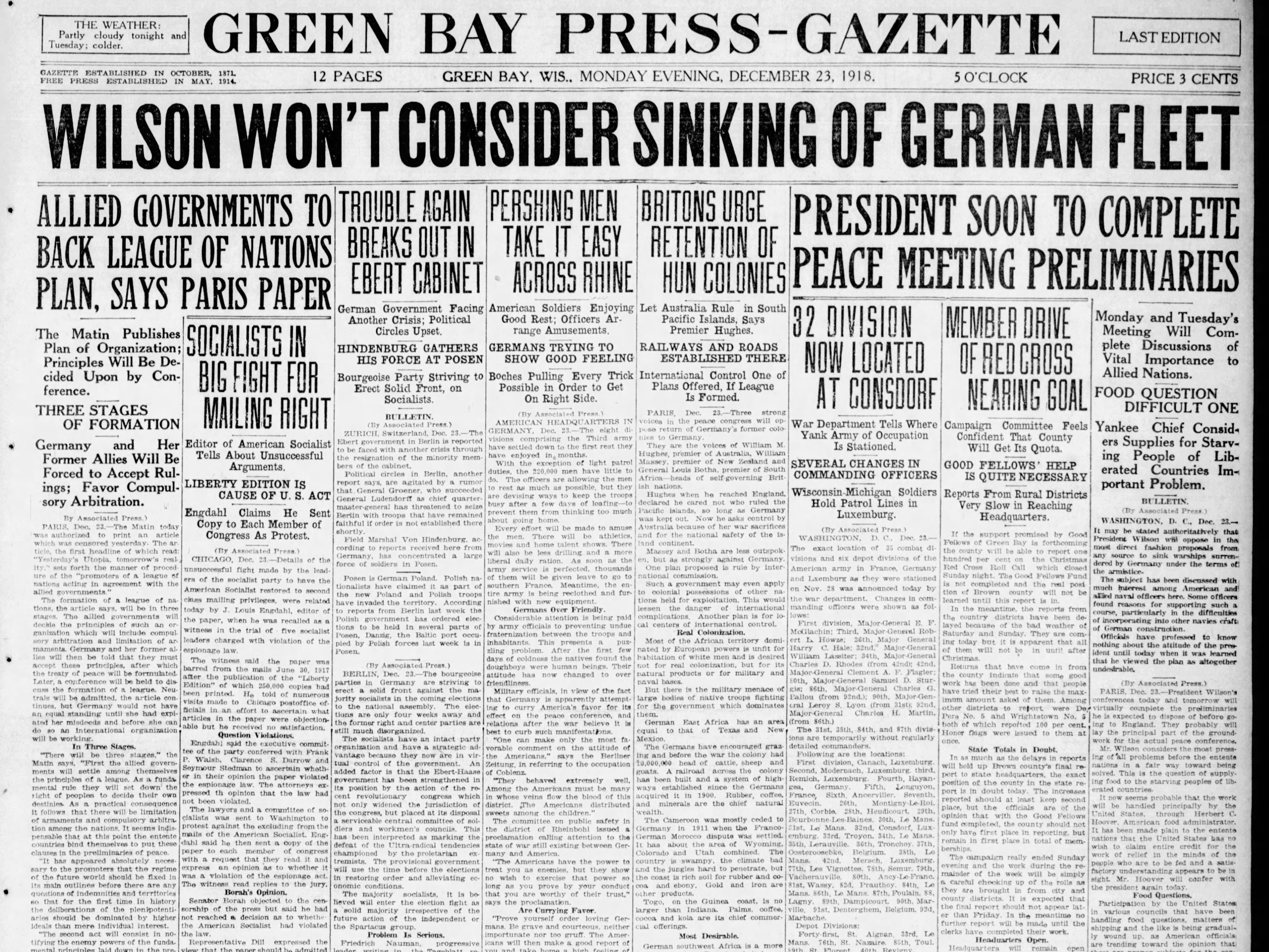 Today in History: Dec. 23, 1918