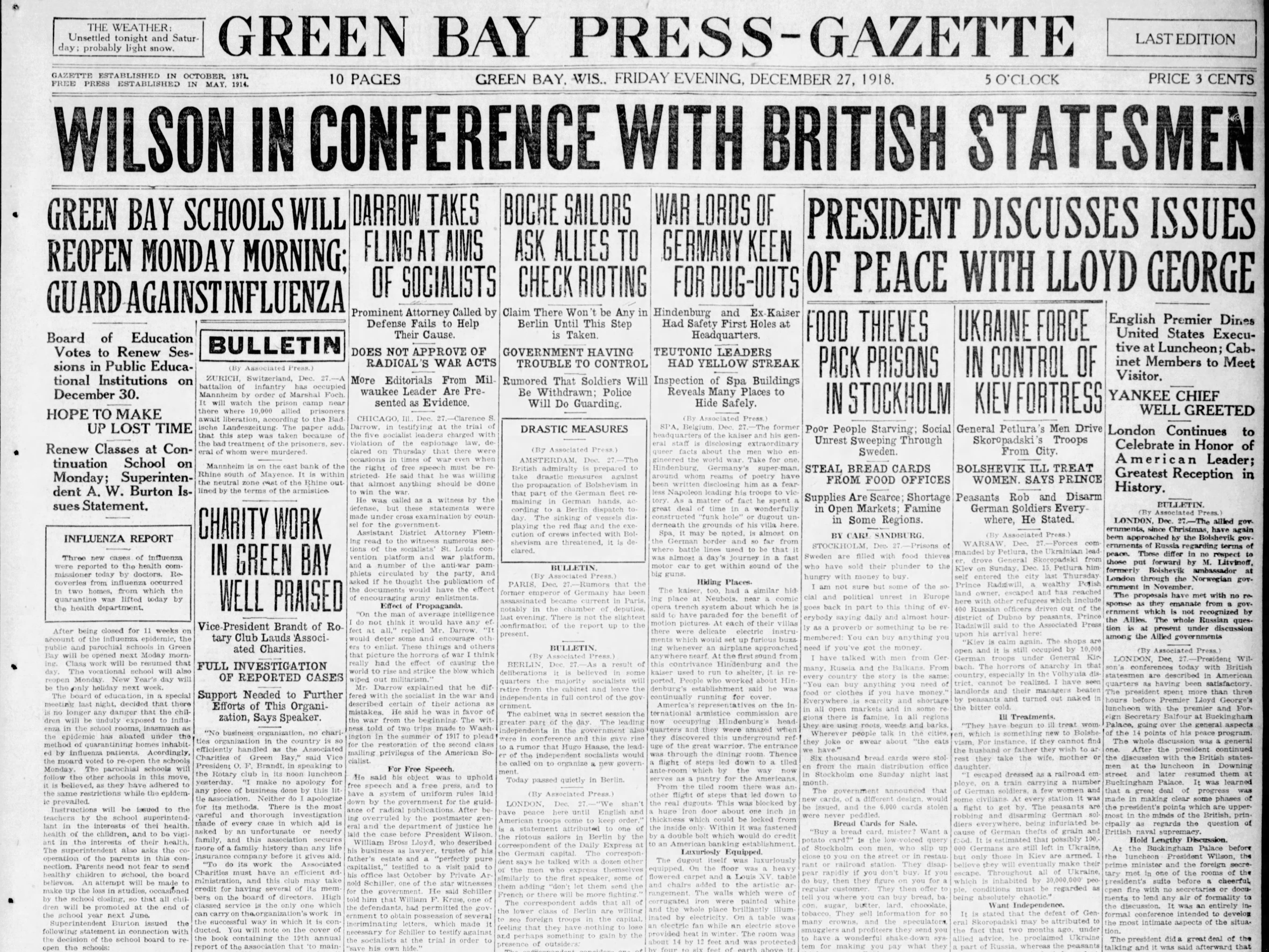 Today in History: Dec. 27, 1918