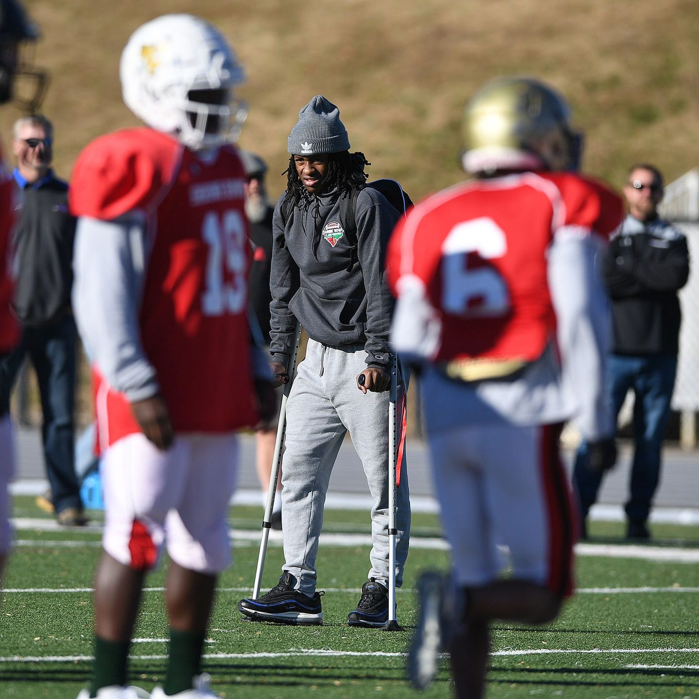 Greer running back Dre Williams, out with an ankle injury, looks on during South Carolina's Shrine Bowl practice Tuesday.