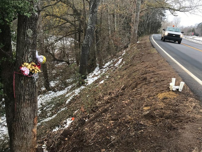 Some balloons and candles sit beside the roadway where four young children were killed in a DUI-related wreck Dec. 7.