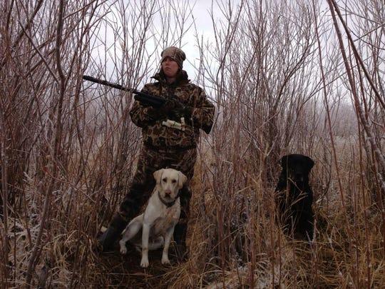 Michaela Hystad hunts with Rascal And Sis.