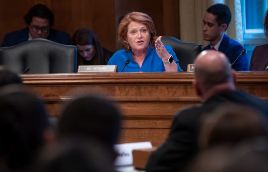 Sen. Heidi Heitkamp, D-N.D., tells a panel of law enforcement officials that efforts to prevent and solve the deaths and disappearance of Native American women must improve, during a hearing by the Senate Committee on Indian Affairs, on Capitol Hill in Washington, Wednesday, Dec. 12, 2018.