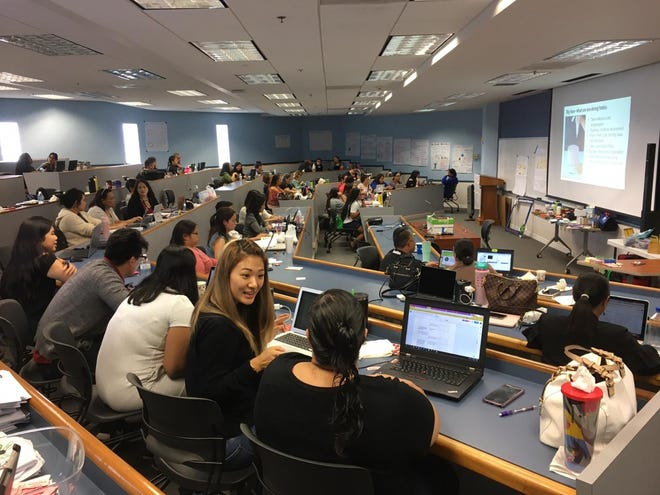 In this Pacific Daily News file photo, Guam DOE teachers and administrators participated in a workshop aimed at developing new guidelines for introducing technology to curriculum.