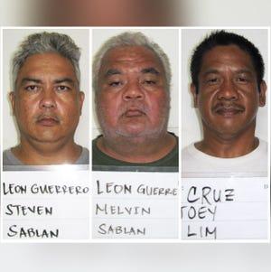 Steven Leon Guerrero, Melvin Leon Guerrero and Joey Lim Cruz are shown in this combined photo.