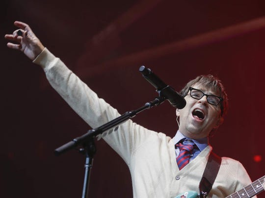 Rivers Cuomo is seen during Weezer's 2018 show at Ruoff Home Mortgage Music Center.