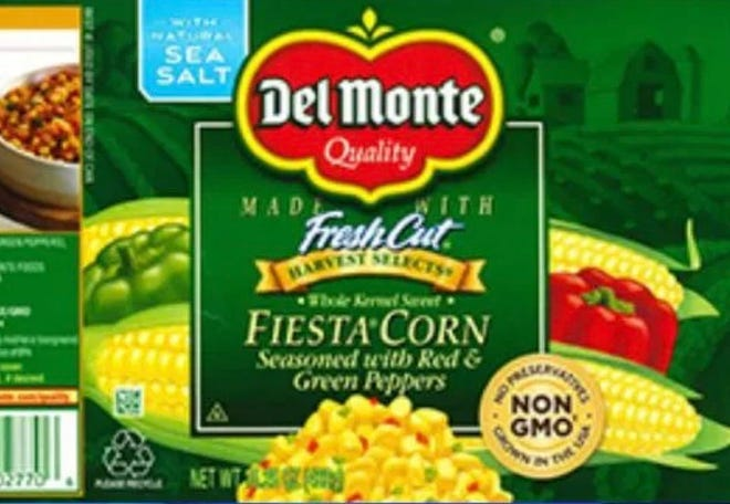 Del Monte Foods Inc. is recalling more than 64,000 cases of fiesta corn seasoned with red and green peppers.