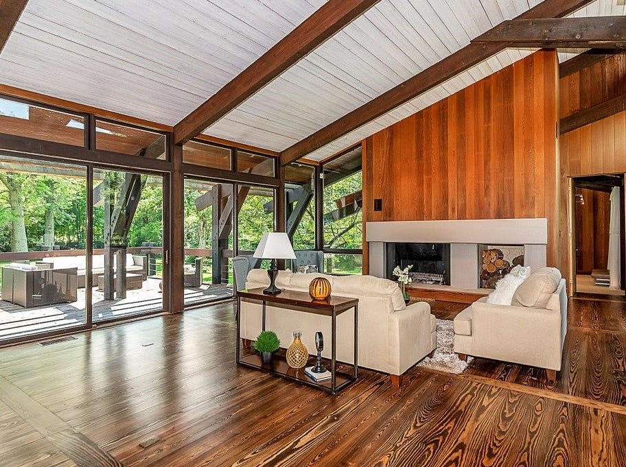 """The home, built in 1980, is built largely from California redwood, a type of wood which is now protected. The result is a unusual, mid-century modern style estate dubbed """"California contemporary."""""""