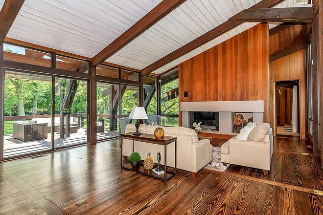 "The home, built in 1980, is built largely from California redwood, a type of wood which is now protected. The result is a unusual, mid-century modern style estate dubbed ""California contemporary."""