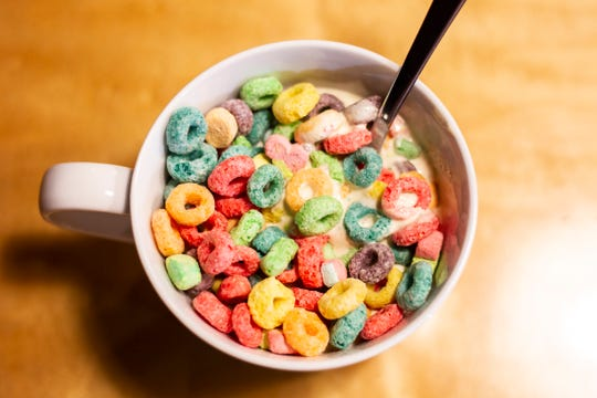 A Froot Loops shake is seen on Thursday, Dec. 13, 2018, at Melk in Iowa City. Melk is a new diner located on Washington Street that serves breakfast all day along with cereal shakes, smashburgers and more.