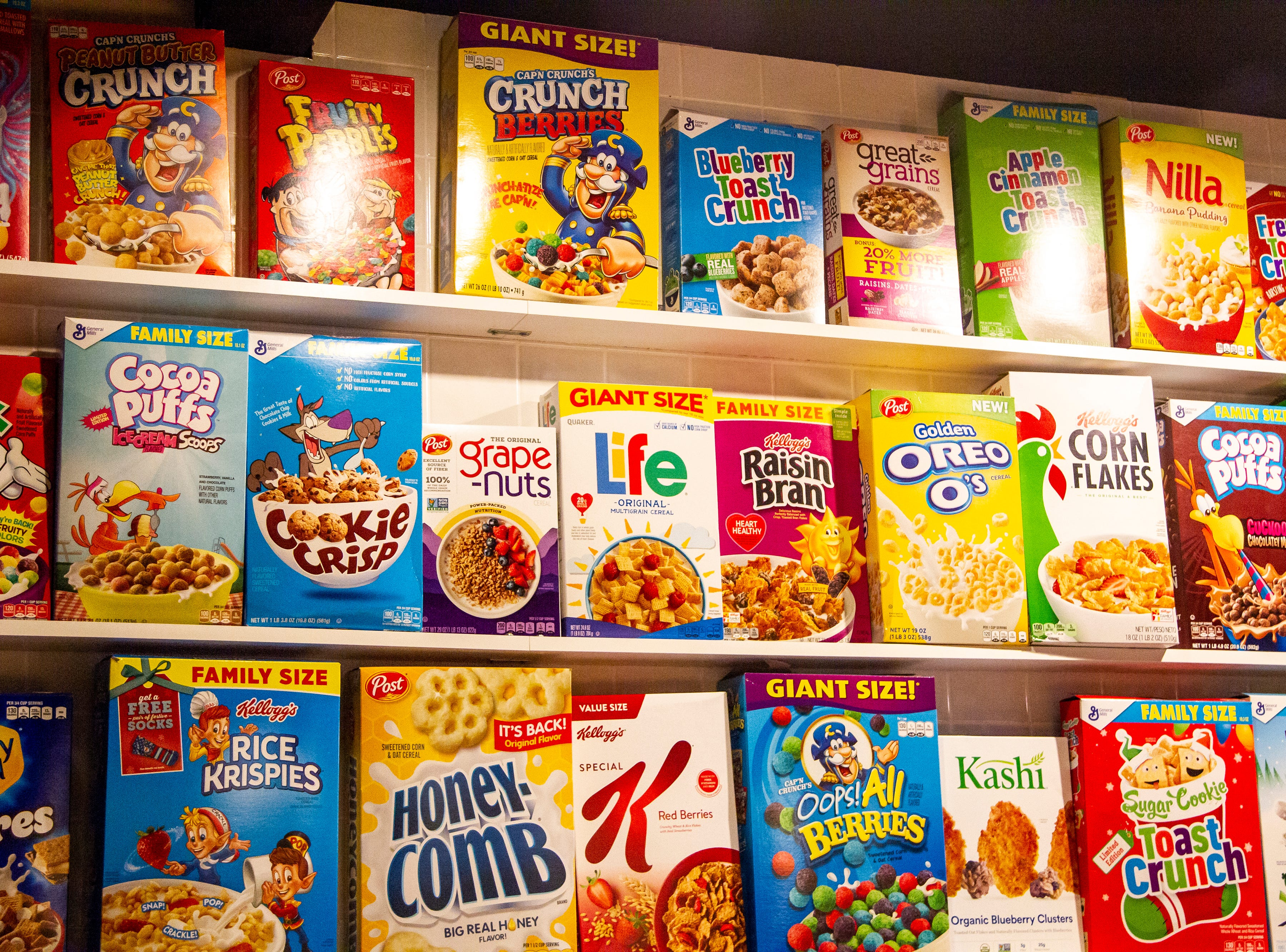 A selection of cereals are seen on Thursday, Dec. 13, 2018, at Melk in Iowa City. Melk is a new diner located on Washington Street that serves breakfast all day along with cereal shakes, smashburgers and more.