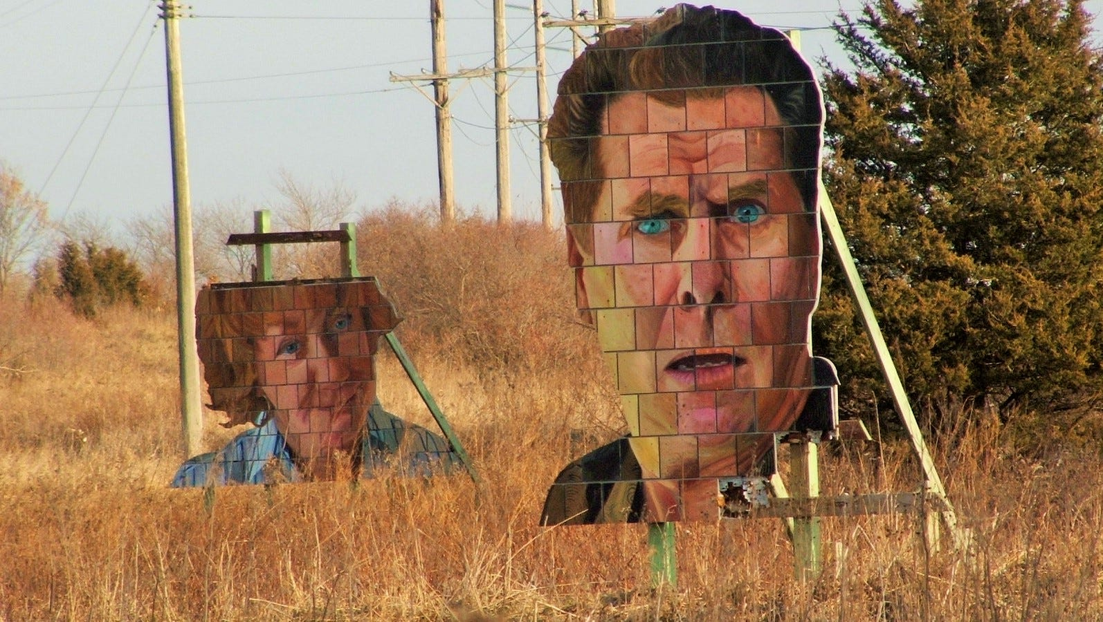 Big faces in Iowa City pasture aren't angry, just expressive