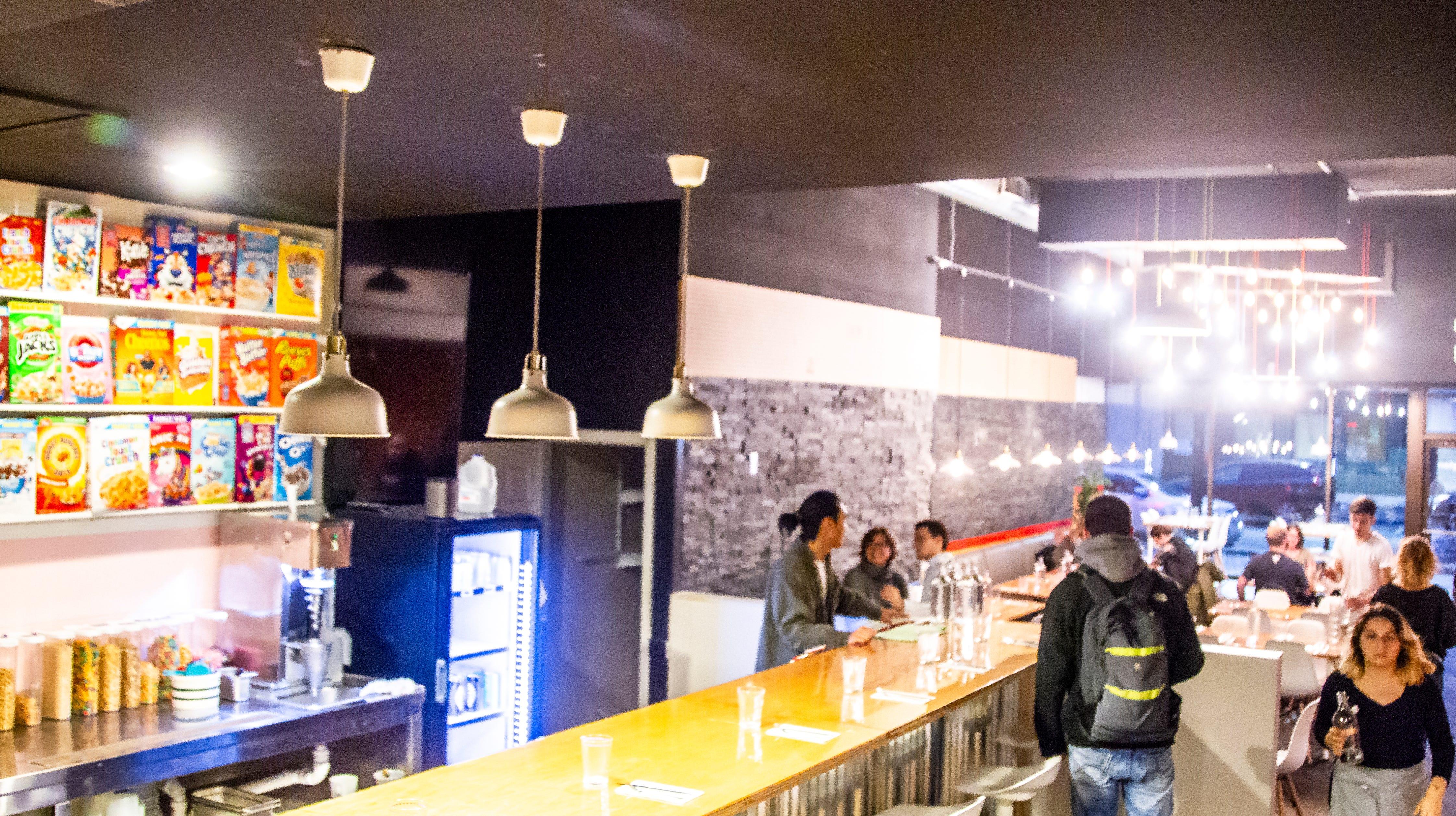 Melk Diner Cereal Bar serves bowls of cereal alongside burgers in Iowa City
