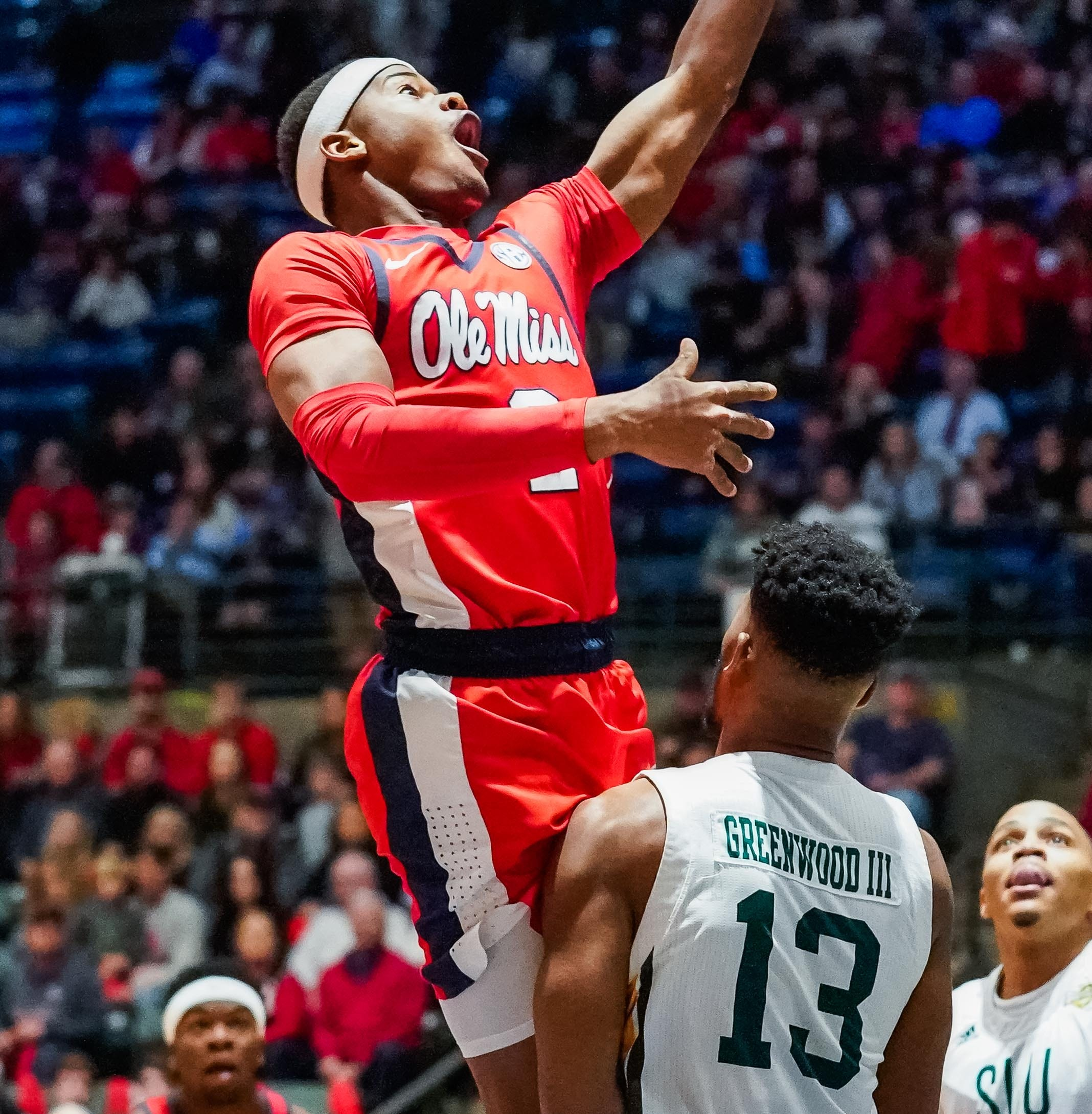 Ole Miss guard Devonte Schuler (2) drives to the...