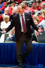 Ole Miss head coach Kermit Davis, a Mississippi State alum, has the Rebels rolling as they prepare to play the Bulldogs at Hum,phrey Coliseum on Saturday. (Bob Smith-For The Clarion Ledger)