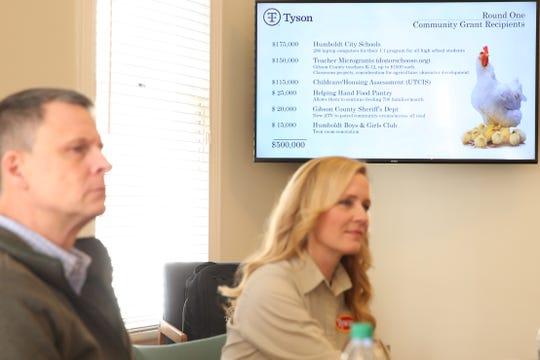 Garrett Dolan (left) and Vanessa Presson (right) at Tyson's temporary Humboldt offices. Tuesday, Dec. 11, 2018. Pam Dietz/Jackson Sun