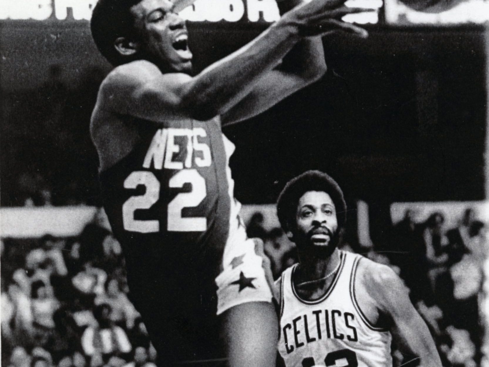 New Jersey Nets' Bernard King, left, against Don Chaney of the Celtics, January, 1979.