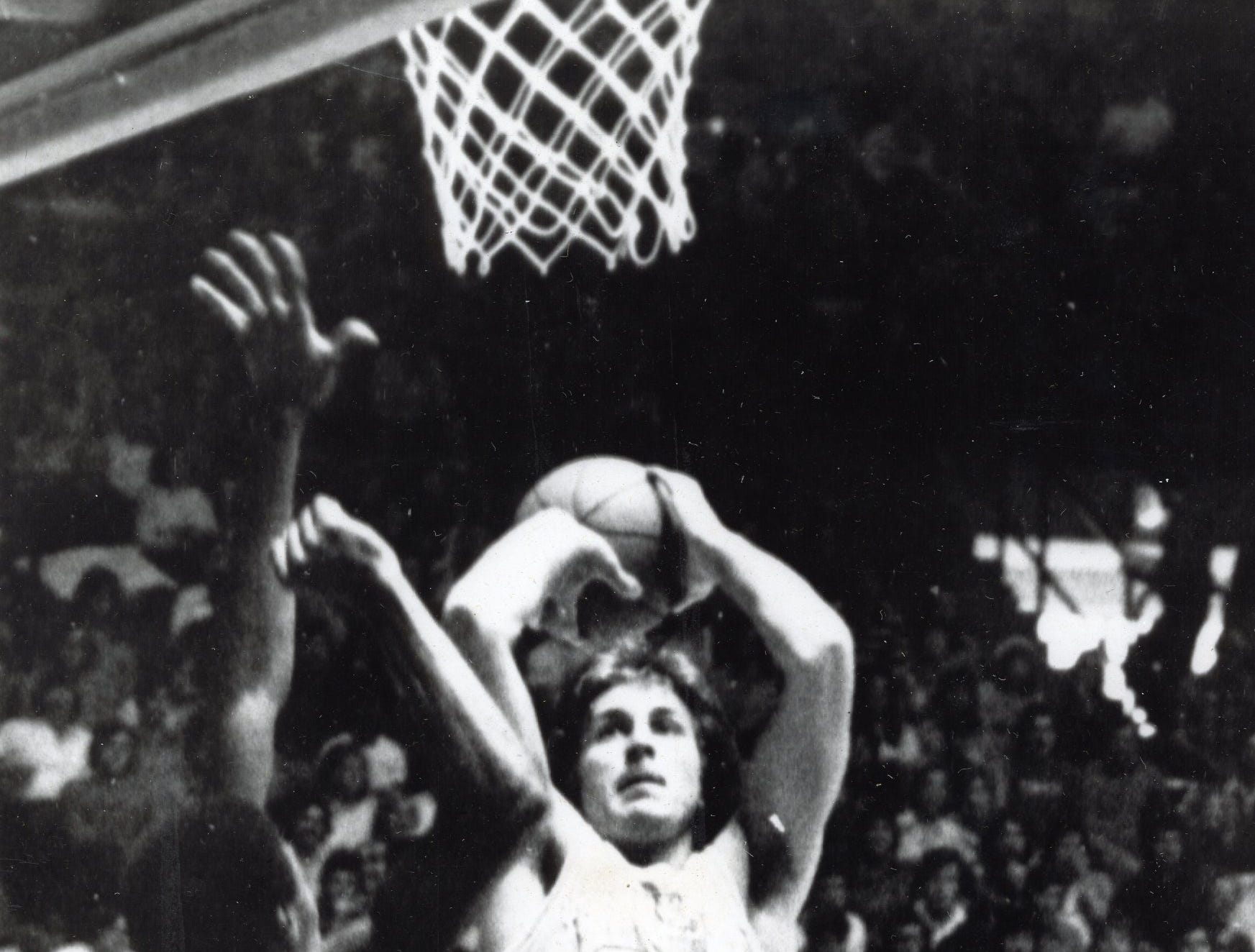 Ernie Grunfeld goes up for two during a January, 1976 game against University of Mississippi.