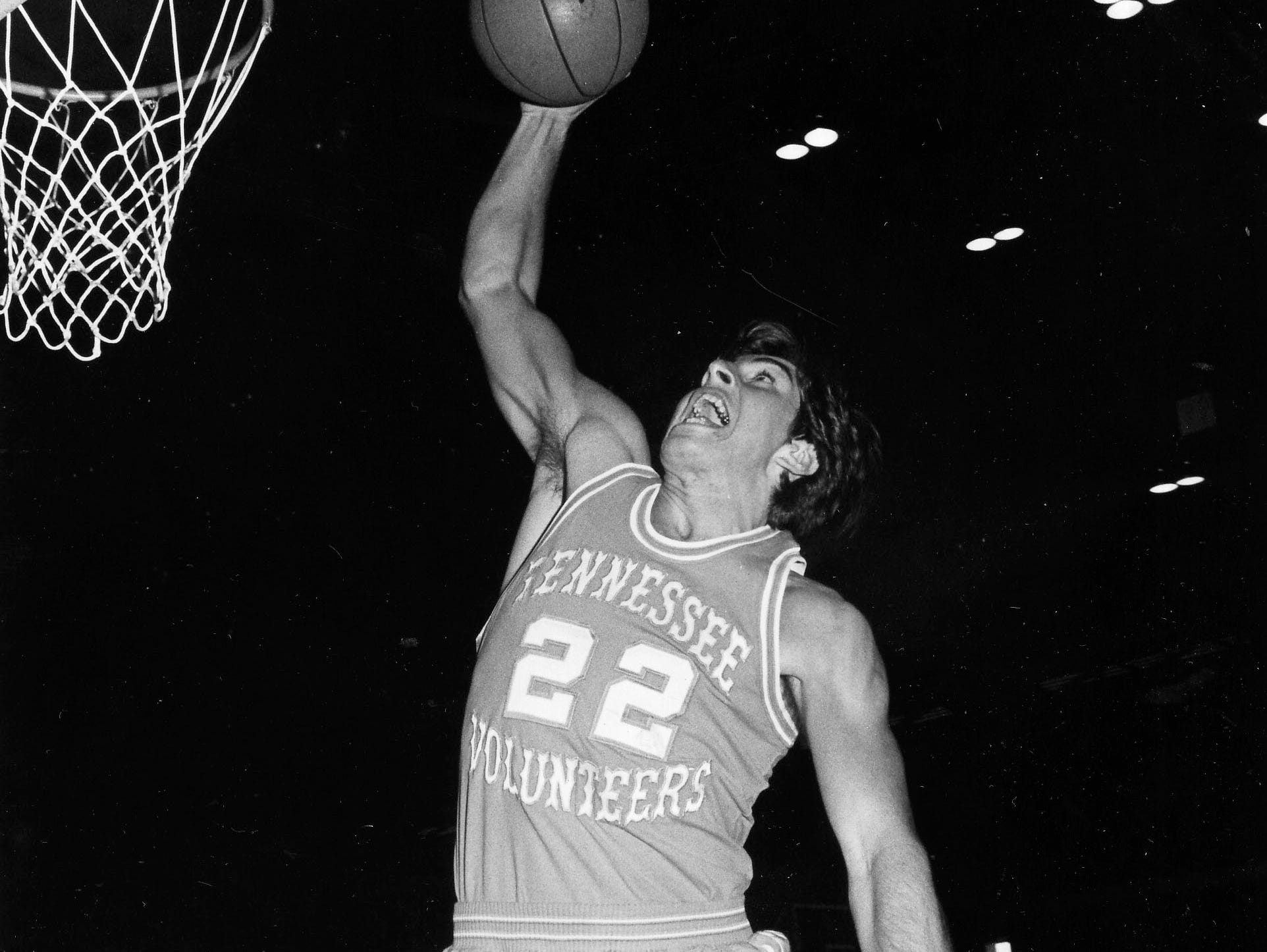 University of Tennessee basketball player Ernie Grunfield attempts a basket in a Nov. 11, 1973, game. (KNS Archive)