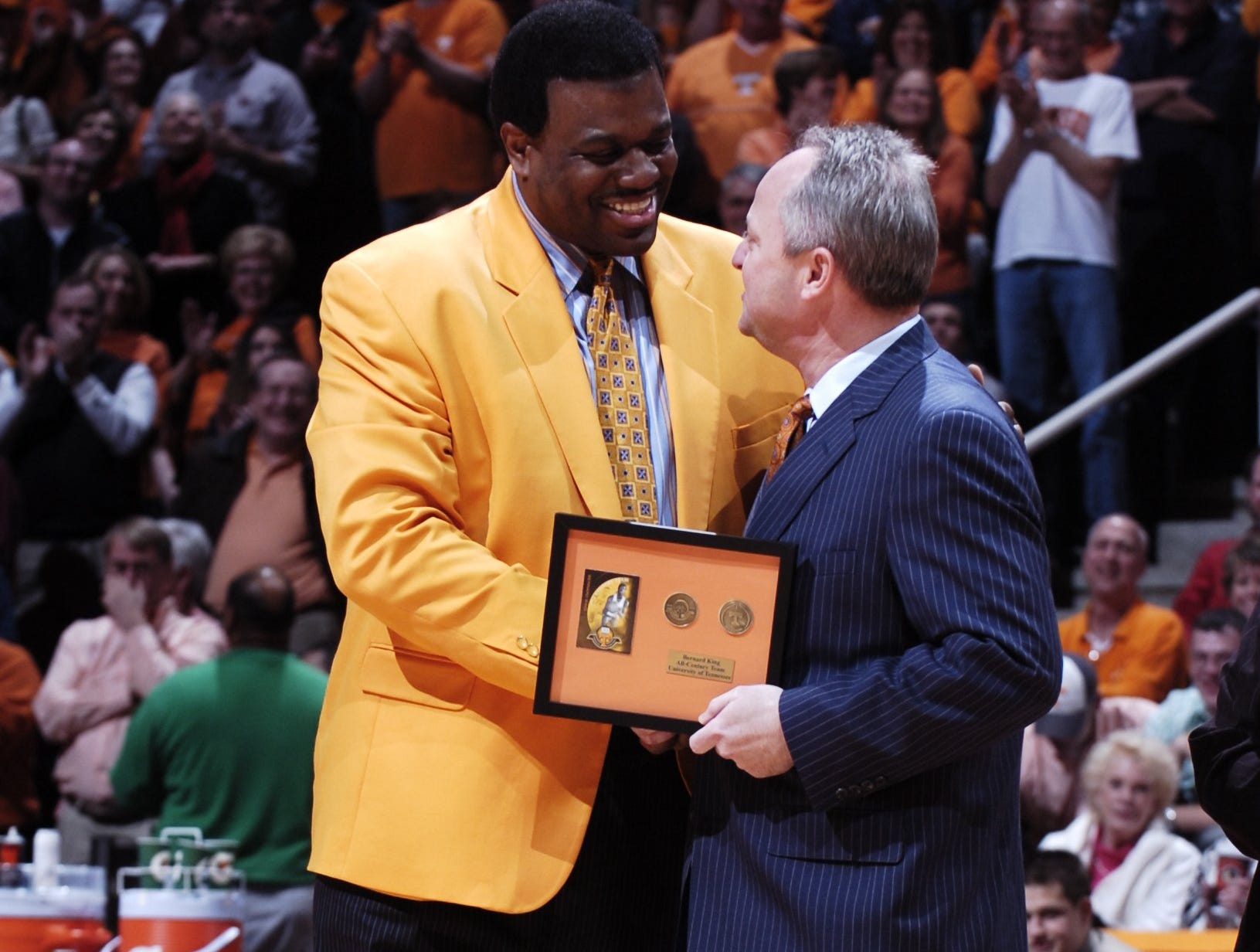 Bernard King was introduced as a member of the All Century University of Tennessee mens basketball team during halftime of the game against Vanderbilt at Thompson Boling Arena on Saturday.