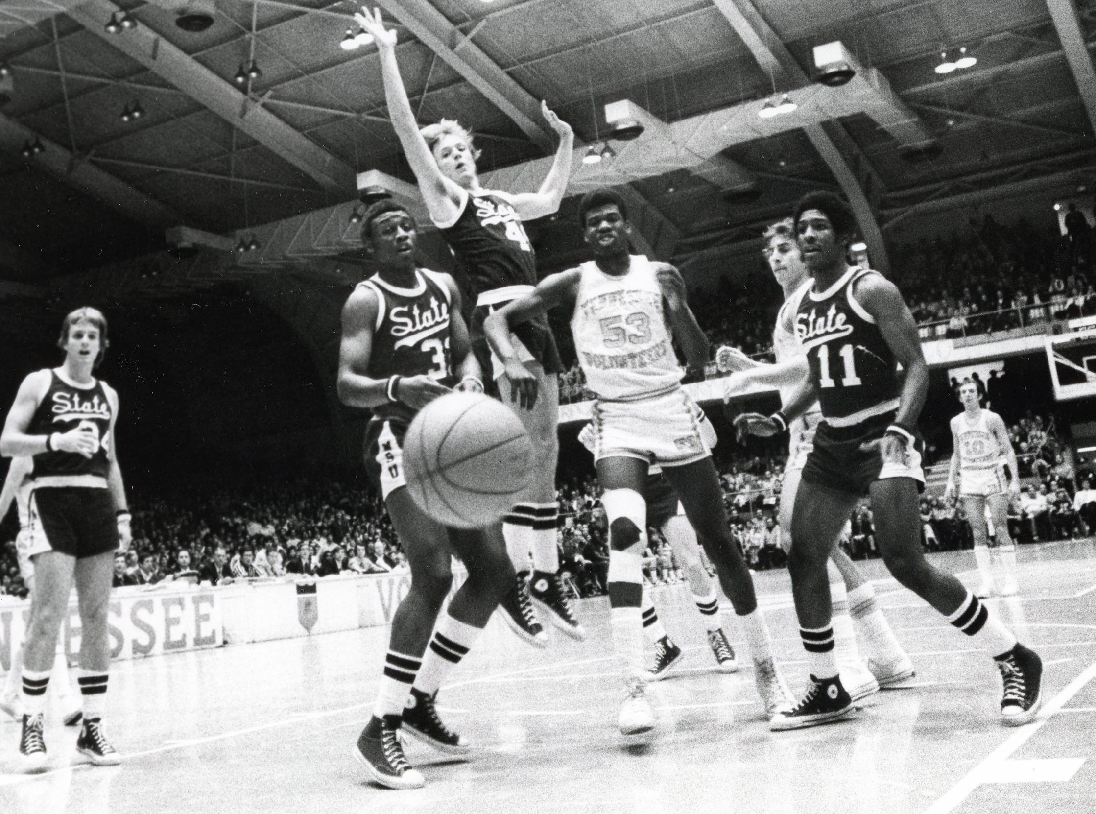 Bernard King, center, during a UT basketball game in the mid-1970s.