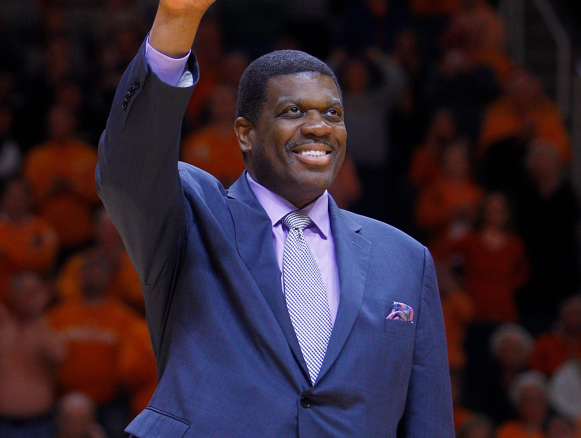 Former Tennessee center, Bernard King is introduced at halftime of an NCAA college basketball game against South Carolina on Saturday, March 7, 2015, in Knoxville, Tenn. (Photo by Wade Payne, Special to the News Sentinel)