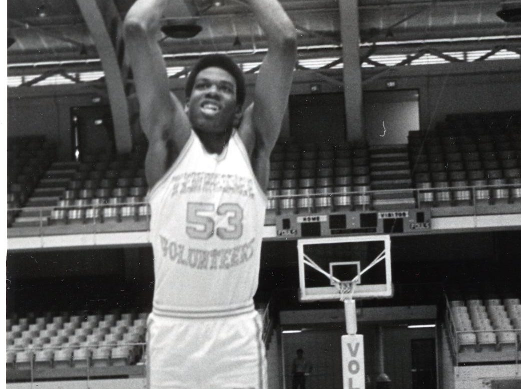 Bernard King during a UT photo shoot with Ernie Robertson, October, 1976.