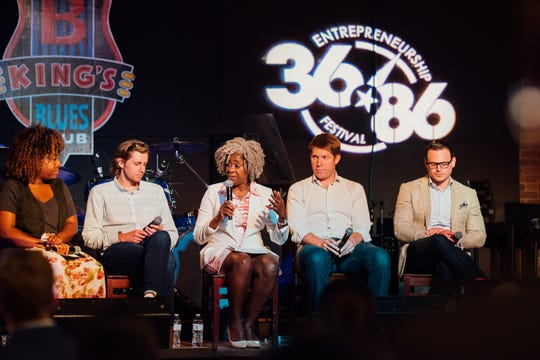 A panel discussion at the 2018 Launch Tennessee's 3686 Entrepreneurship Festival.